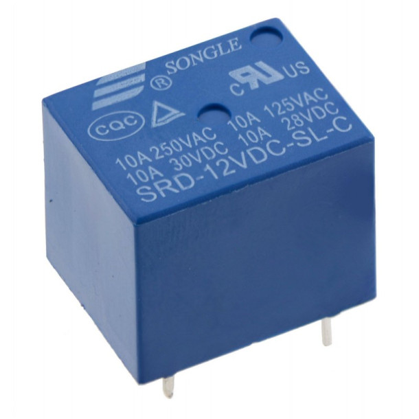 Mini relæ 12VDC 10A 30VDC/250VAC